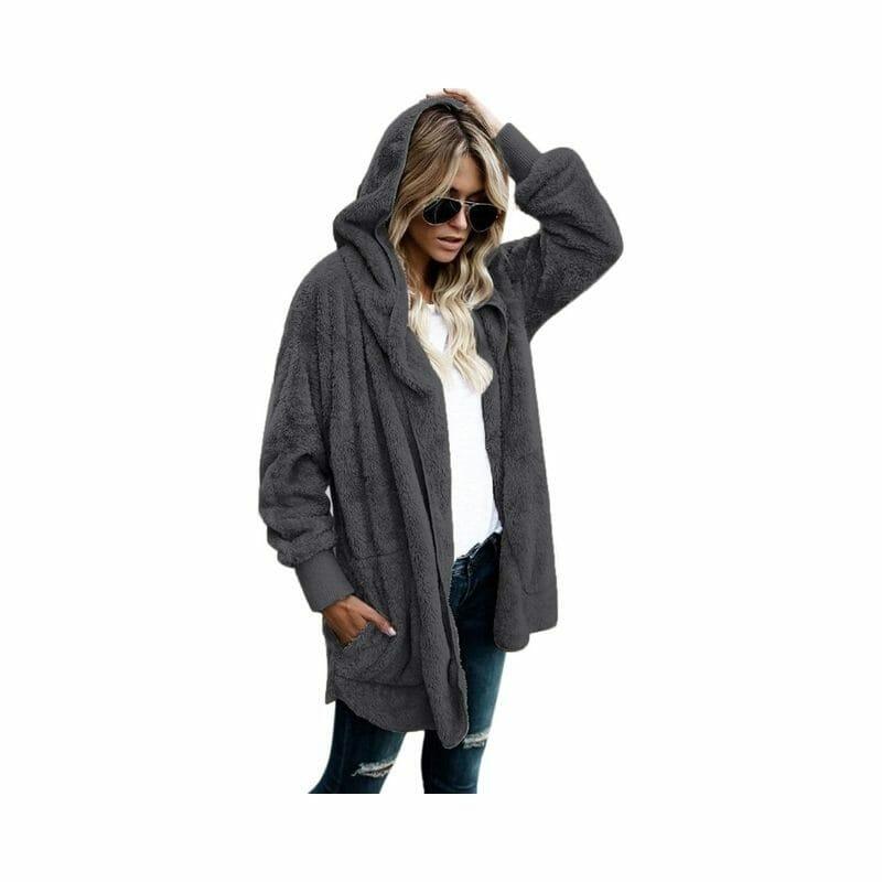 Fleece Hooded Cardigan with Pockets