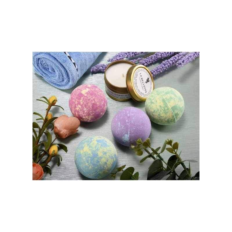 Bath Bombs (4) and Scented Candles (2) Set