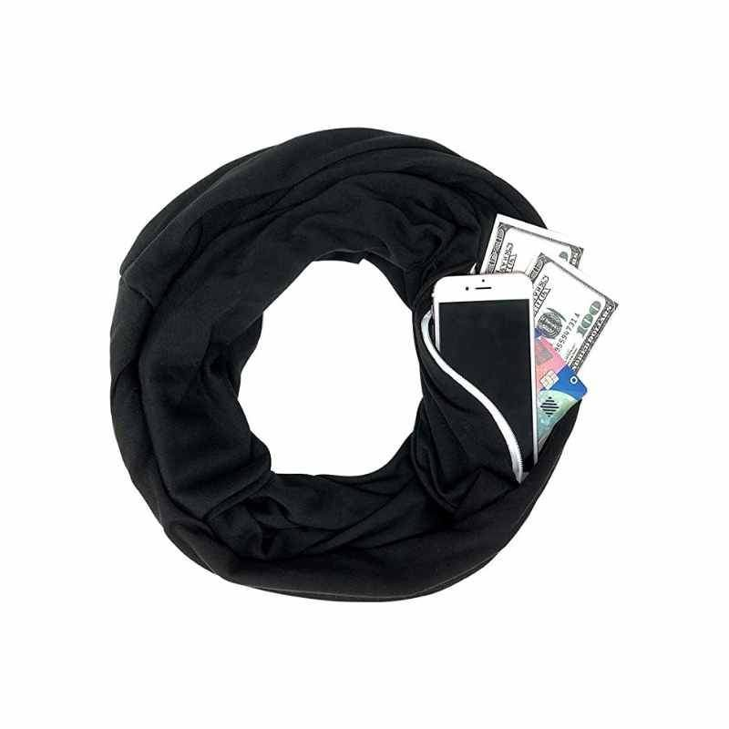 Unisex Infinity Scarf with Hidden Zipper Pocket