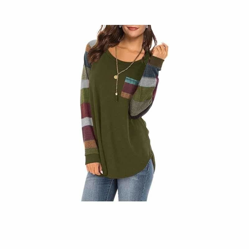 Color Block Crewneck Long Sleeve Shirt with Pocket